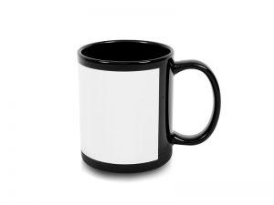 Hrnček čierny s bielou plochou