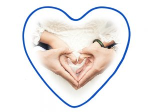 Vankúš srdce modrý